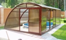 Виды навесов из поликарбоната для каркасного бассейна, руководство по самостоятельному изготовлению